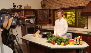 NSW DPI technical officer David Daniels is guest chef in a video demonstrating recipes for Asian vegetables.