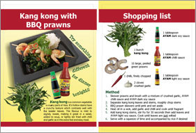 Recipe cards help to reduce confusion over Asian vegetables like kang kong.
