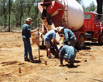 Soil treated with termiticide is placed around a specimen post at a trial site near Narrandera.