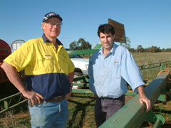 Farmer, Geoff Barber, and NSW Department of Primary Industries agronomist, Barry Haskins at 'Sylvanham' - site of the no-till trial which is changing the face of farming in the surrounding district.