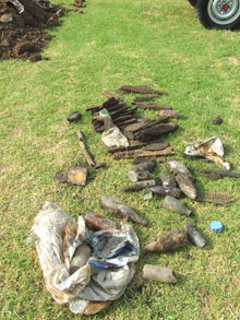 Some of the wood collected at 'the dig'.