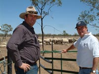 Bourke grazier Tony Thompson and NSW DPI e-sheep researcher Bill Murray inspect the remote walk-through weighing yard.