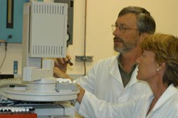 Ian Stiff and Linda St Clair test for residues in fruit and vegetables.